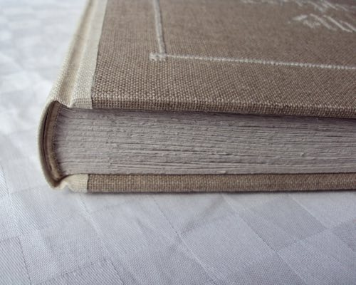 Photo closeup of album binding and end bands